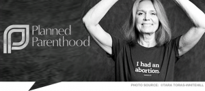 Liberal feminist icon, Gloria Steinem, sports t-shirt sold by Planned Parenthood